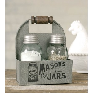 Mason Jar Box Salt And Pepper Caddy with Wood Handle