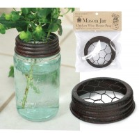 Mason Jar Chicken Wire Flower Frog Lid