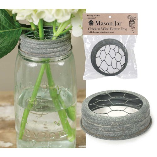 Mason Jar Chicken Wire Flower Frog Lid - Barn Roof