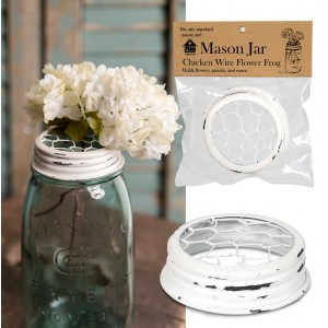 Mason Jar Chicken Wire Flower Frog Lid - White