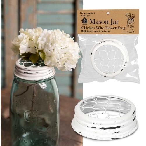 Mason Jar Chicken Wire Flower Frog Lid - White