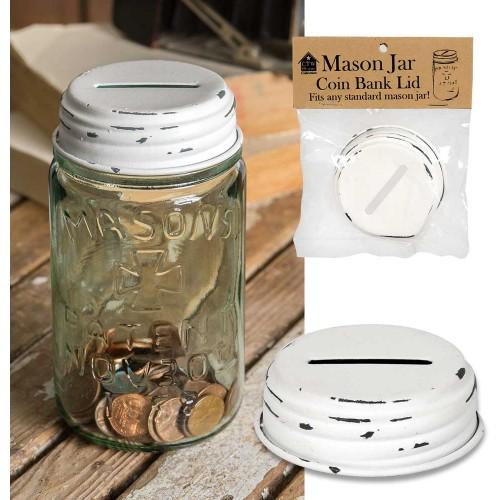 Mason Jar Coin Bank Lid - White