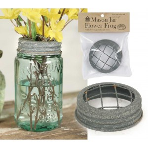 Mason Jar Flower Frog Lid - Barn Roof
