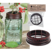 Mason Jar Flower Frog Lid - Crackle Black/Red