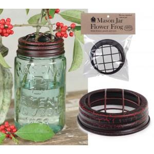 Mason Jar Flower Frog Lid - Crackle Black/Red