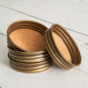 Mason Jar Lid Coaster - Brass Antique