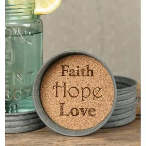Mason Jar Lid Coaster - Faith Hope Love