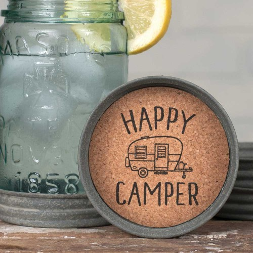 Mason Jar Lid Coaster - Happy Camper