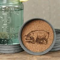 Mason Jar Lid Coaster - Pig