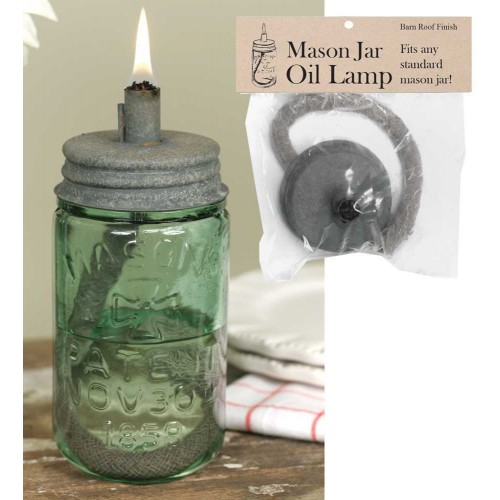 Mason Jar Oil Lamp Lid - Barn Roof - Lid Only