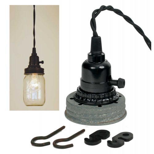 Mason Jar Pendant Light Kit - Barn Roof