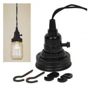 Mason Jar Pendant Lamp Kit - Rustic Brown