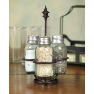 Mason Jar Salt Pepper and Toothpick Caddy - Fleur de lis