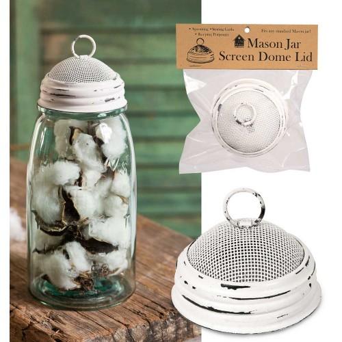 Mason Jar Screen Dome Lid - White