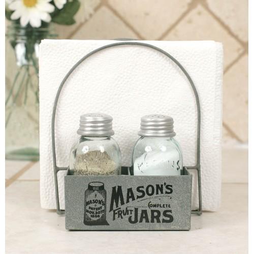 Mason's Jars Box Salt Pepper And Napkin Caddy