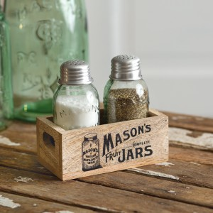 Mason's Jars Wooden Salt and Pepper Caddy - Box of 2