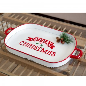 Merry Christmas Oval Serving Tray