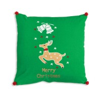 Merry Christmas Reindeer Cotton Throw Pillow