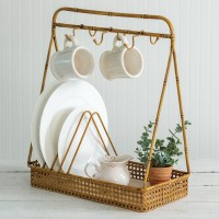 Metal Bamboo Dish and Mug Rack