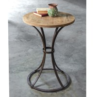 Wooden Round Table with Metal Base