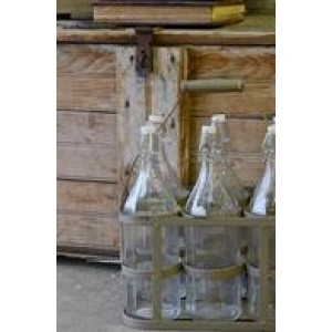 Metal Crate w/ Milk Bottles