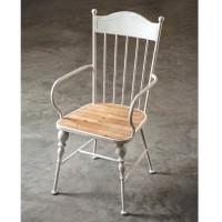 Metal Fanback Windsor Chair with Wooden Seat