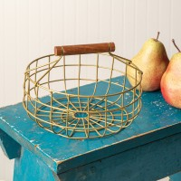 Metal Gathering Basket with Wood Handle