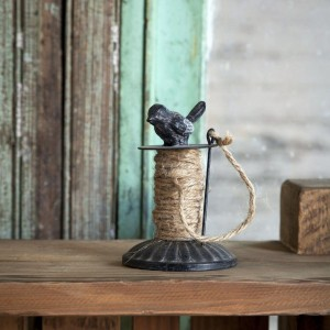 Metal Spool of Twine with Bird