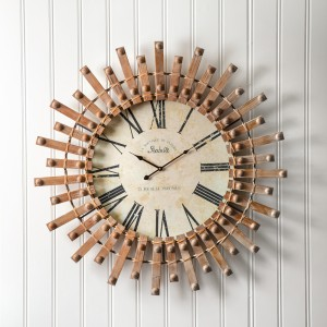 Wood Starburst Wall Clock
