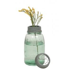 Midget Pint Mason Jar with Chicken Wire Flower Frog - Barn Roof