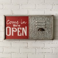 Open/Closed Sliding Metal Wall Sign