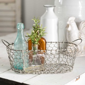 Oval Chicken Wire Basket with Handles