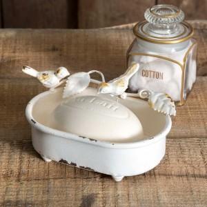 Pair of Birds White Soap Dish