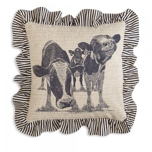Happy Cows Cotton Throw Pillow with Ruffles