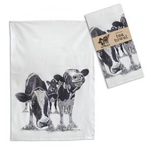 Pair of Cows Tea Towel - Box of 4