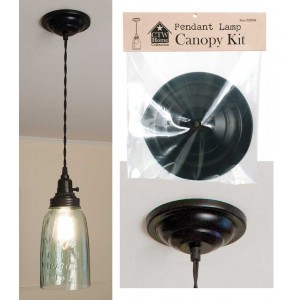 Mason Jar Pendant Light Canopy Kit