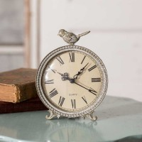 Perched Songbird Tabletop Clock