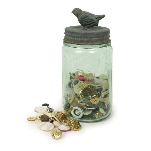 Pint Mason Jar with Songbird Lid - Barn Roof