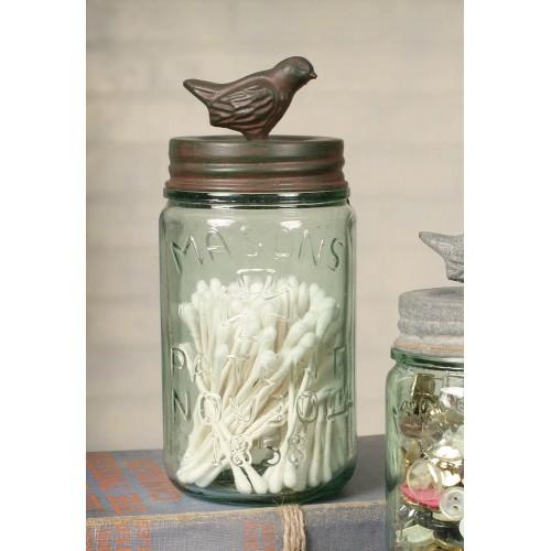Pint Mason Jar with Songbird Lid - Green/Rust
