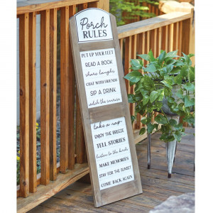 Porch Rules Hanging Sign