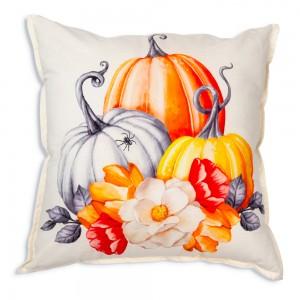 Pumpkins and Flowers Cotton Throw Pillow
