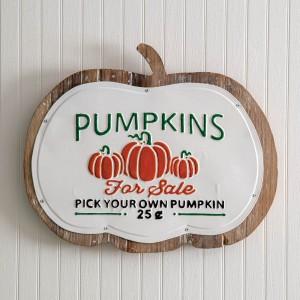 Pumpkins for Sale Wood and Metal Wall Decor
