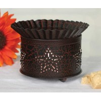 Punched Star Short Round Wax Warmer - Crackle Black/Red