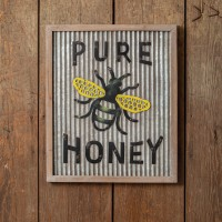 Pure Honey Wood and Metal Wall Sign