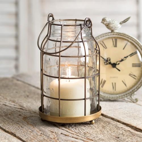 Quart Mason Jar Candle Cage - Antique Brass