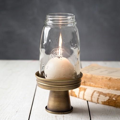 Quart Mason Jar Chimney with Stand - Antique Brass