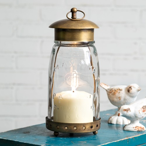 Quart Mason Jar Lantern - Antique Brass