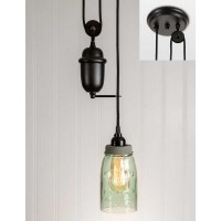 Quart Mason Jar Pulldown Pendant Light - Barn Roof Lid
