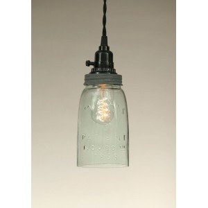 Quart Open Bottom Mason Jar Pendant Light - Barn Roof