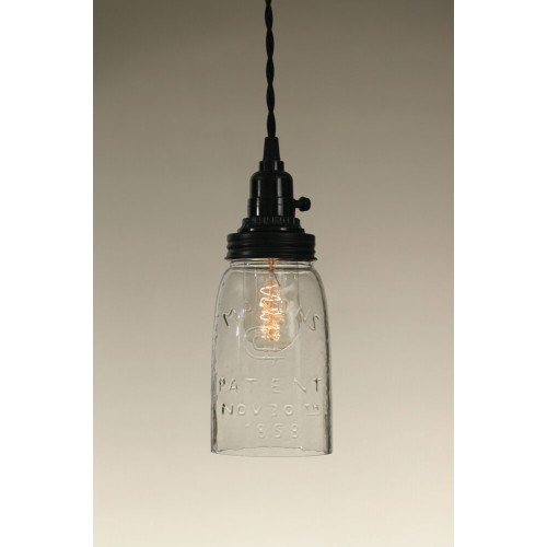 Quart Open Bottom Mason Jar Pendant Light - Clear Glass